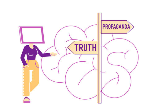Female Character with Tv Screen instead of Head Stand on Roadsign with Truth and Propaganda Pointers front of Huge Human Brain. Brainwashing Mass Media Manipulation Concept. Linear Vector Illustration