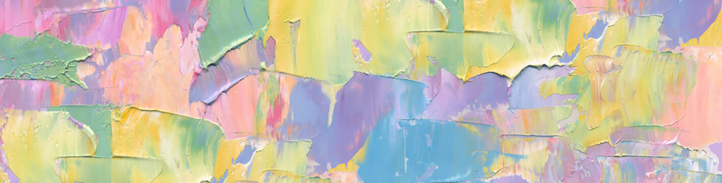 Abstract painting background in pastel positive color as wallpaper, pattern, art print, textured fonts, shapes etc. Natural texture of oil paint. High quality details.