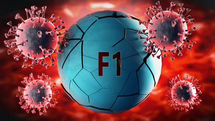 Zelfklevend Fotobehang F1 Covid-19 virus and f1, symbolized by viruses destroying word f1 to picture that coronavirus outbreak destroys f1 and leads to recession, 3d illustration
