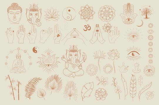 Collection of buddhism and hinduism, yoga objects, esoteric and boho elements, plants, buddha, ganesha, mandala, lotus. Minimalistic objects one linestyle. Editable Vector Illustration.