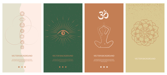 Set of abstract vertical background with elements of buddhism and hinduism plants in one line style. Background for social media minimalistic style. Vector illustration.