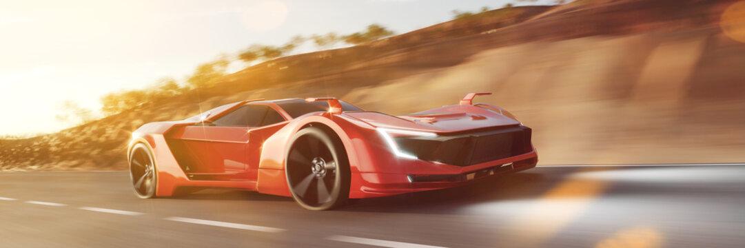 Schneller roter Sportwagen rast auf Straße