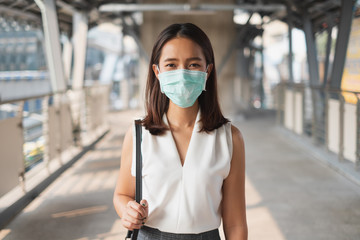 Coronavirus(Covid-19) concept, Asian woman wearing protective face mask to protect infection from coronavirus covid-19