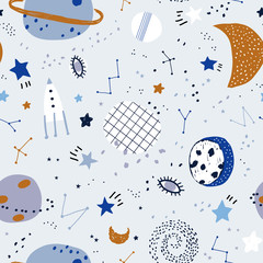 Cute space elements seamless pattern. Childish vector illustration. Seamless pattern with cartoon space, planets and stars. Cosmos doodle illustration.
