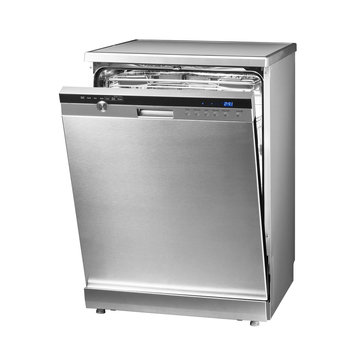 Dishwasher Machine Isolated on White Background. Modern Freestanding Stainless Steel Dishwasher Range. Domestic Appliances. Kitchen Appliances. Household Appliances. Clipping Path