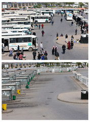 A combination picture shows people at a bus station in downtown Algiers