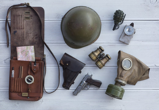 leather map-case, vintage military equipment and weapons