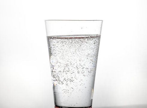 cold glass of seltzer water