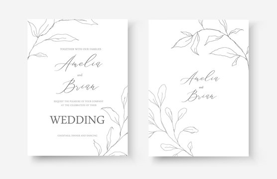 Wedding line art silhouette leaves floral minimalist invitation card save the date design. Botanical elegant delicate decorative vector template in outline style