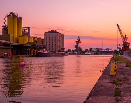 Industry port in Hamm Westfalen in the Ruhrgebiet at sunset