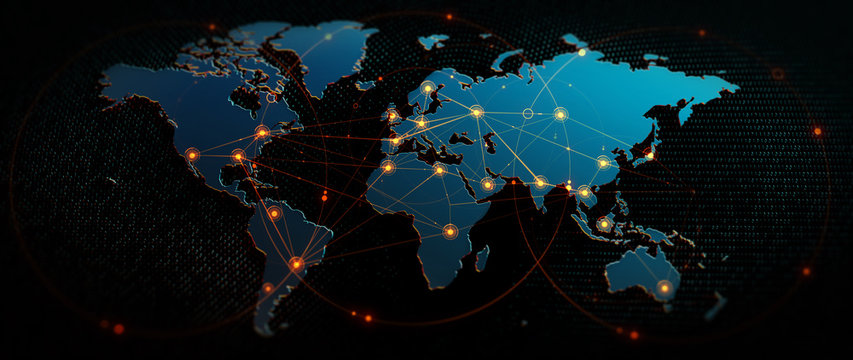 Global  Background/Connection lines around Earth globe, futuristic technology  theme background with circles and lines. Concept of internet, social media, traveling or logistics/Global Background