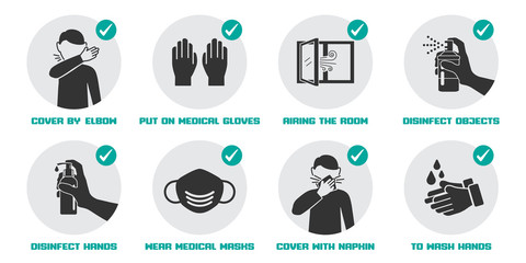 Preventive measures icons for not getting sick and not spreading virus