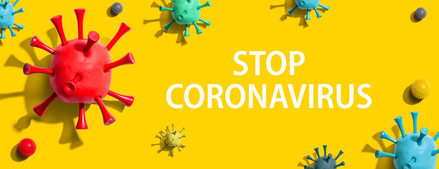 Stop Coronavirus theme with virus craft objects - flat lay