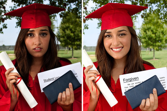 Before and after of college student with tuition debt and then the loan being forgiven or cancelled. Forgive borrower, financial aid, graduate forgiveness or free university education concept