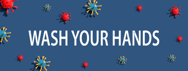 Wash your hand theme with virus craft objects - flat lay Wall mural