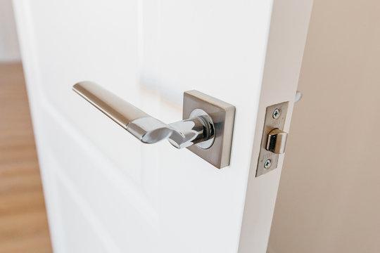 stylish doorknob and door in a design apartment