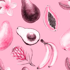 Exotic fruits and flowers seamless pattern on pink background, watercolor illustration mango, avocado, banana, papaya.