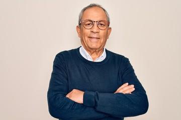 Senior handsome grey-haired man wearing sweater and glasses over isolated white background happy...