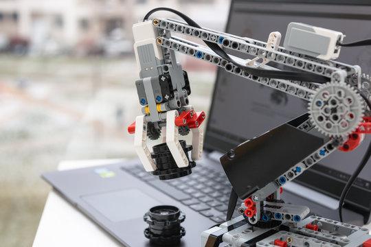 Minsk, Belarus. November, 2018. Lego  Mindstorms EV 3 Robot Arm. School Robotics. Modern training. STEM education. STEAM. Science, technology, engineering, art, mathematics.
