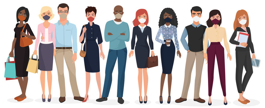 People wearing face masks to prevent disease. Coronavirus in China, Europe and USA. Novel coronavirus 2019-nCoV, COVID-19, SARS-CoV-2. Man and woman medical face mask protection vector illustration.