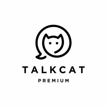 Talk cat logo design vector illustration