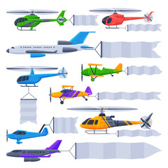Flying Planes and Helicopters with Blank Banners Collection, Air Vehicles with White Ribbons for Advertising Vector Illustration