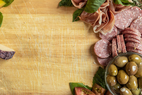 Gourmet Charcuterie Board Flat Lay Top Down with Copy Space