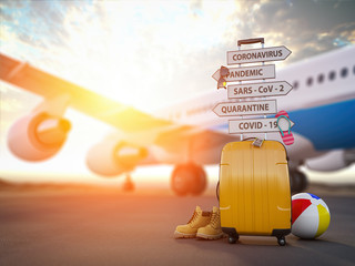 Coronavirus crisis in travel and tourism industry concept.  Airplane, suitcase and arrows with  travel directions closed due to pandemic.