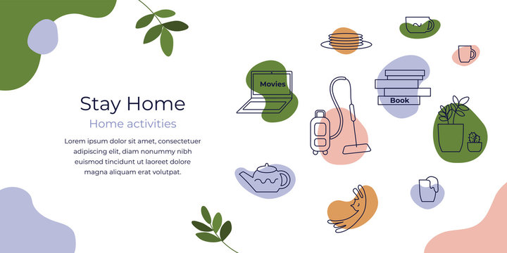 Stay home concept. Vector icons of care for houseplants, reading book, cleaning house, cooking, watching movies. Illustration of choosing home activities. Coronavirus quarantine. Flyer layout template