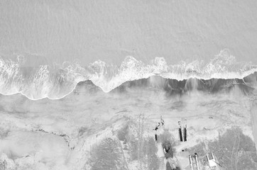 Aerial view of sailing boat on the beach