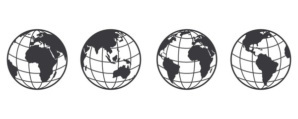Fototapeta Earth globe icon set. earth hemispheres with continents. world map in globe shape isolated on white background. vector