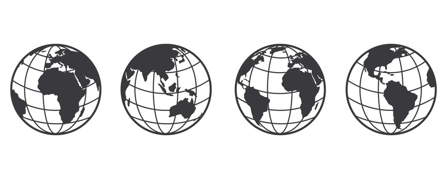Earth globe icon set. earth hemispheres with continents. world map in globe shape isolated on white background. vector