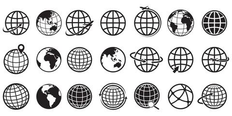 Earth globe Icon set, vector Illustration