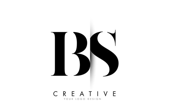 BS B S Letter Logo with Creative Shadow Cut Design.