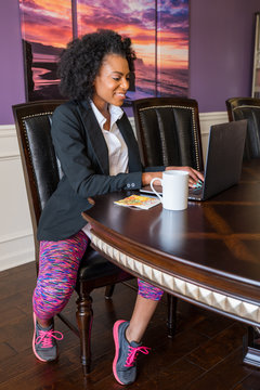 Young African-Ameerican Woman Working from Home