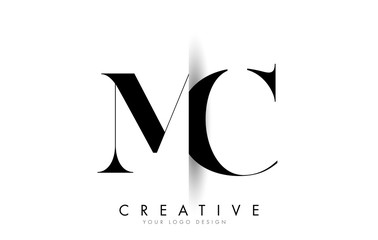 MC M C Letter Logo with Creative Shadow Cut Design. Fotomurales