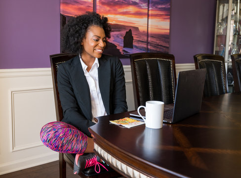 Young African-American Woman Working from Home