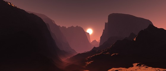 Keuken foto achterwand Chocoladebruin Mars at sunset, panorama of Mars, Martian base, 3D rendering