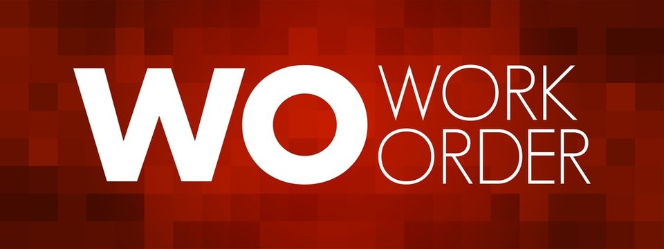 WO - Work Order acronym, business concept background