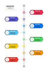 vertical timeline template with eight realistic hexagonal elements with thin line icons on white background. modern diagram with geometric holes in paper. vector visualisation for presentations