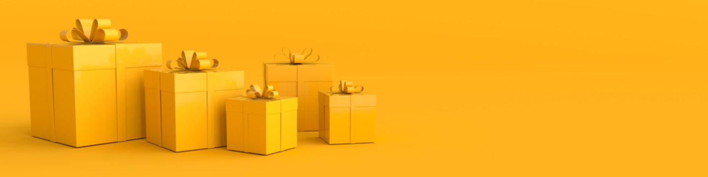 3d rendering of realistic yellow gift box with ribbon bow on yellow studio background. Empty space for party, promotion social media banners, posters. Horizontal banner