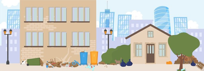 Bad neighborhood in city, street ghetto, trash on avenue, flat vector illustration. Road for car and sidewalk for passer. Criminal area, dangerous place. Design for website, banner, template.