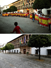 A combination photo shows people holding Spanish flags during a pro-union gathering in Ronda