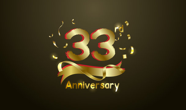 Anniversary celebration background. with the 33rd number in gold and with the words golden anniversary celebration.