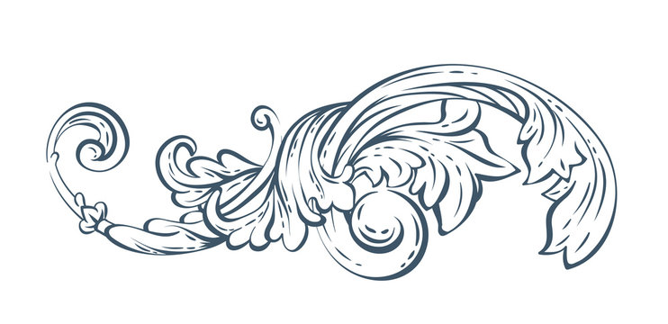Floral decorative vector element, rococo and baroque style