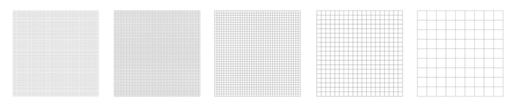 Set of grid pattern background. Grid templates isolated on white background. Square grid lines black background - stock vector