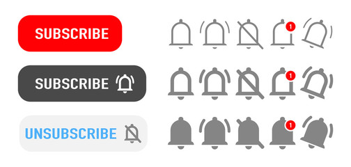 Subscribe button. Subscribe button with bells of notification isolated symbols. Vector