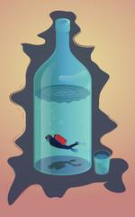 Scuba diver in the bottle illustration for poster