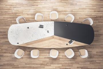 Top view luxury meeting room interior