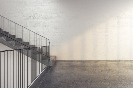 New concrete stairs in office building